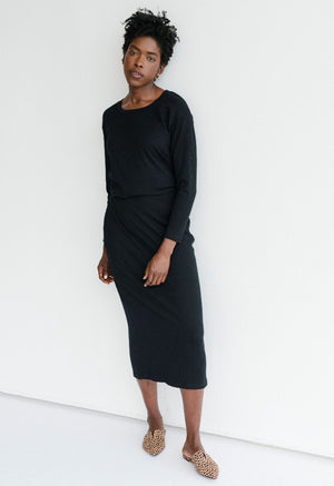 Sonnet James - Long Skirt Set - Ribbed Two-Piece Maxi Skirt - Skirt Set,black-rib