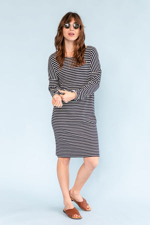 Sonnet James - AVA - NAVY/CREAM STRIPE - Dress,Navy/Cream