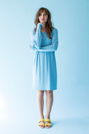 Sonnet James - AVA - LIGHT BLUE STRIPE - Dress,Light Blue Stripe