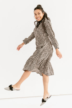 Sonnet James - Celine - Ruffle Hem Midi Dress - Dress,leopard