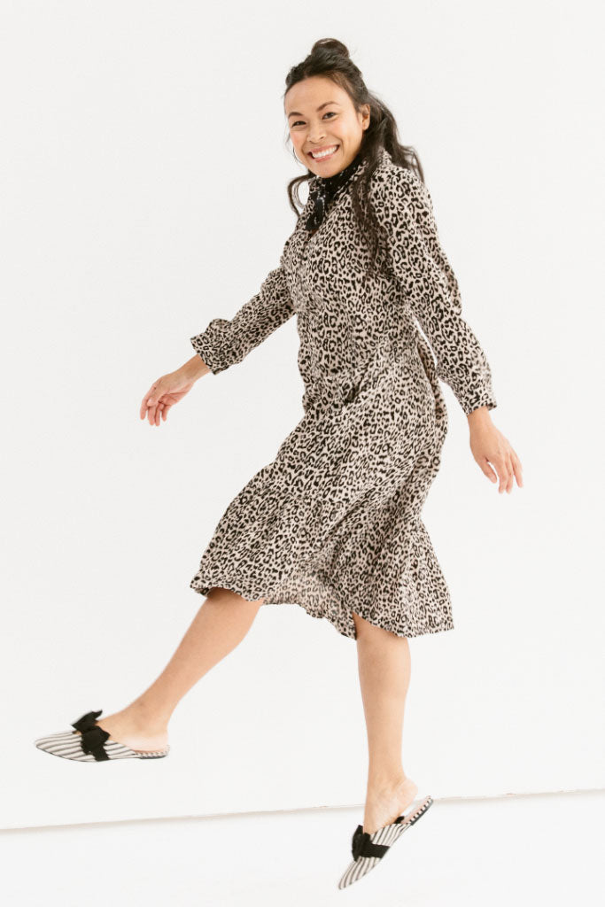 Sonnet James - Celine - Ruffle Hem Midi Dress -  Dress ,leopard