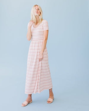 Sonnet James - EMMA - Dress,Peach Natural Stripe