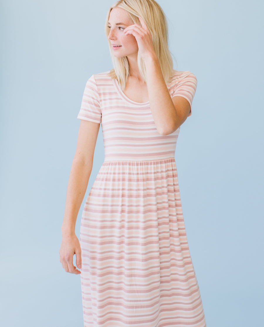 Sonnet James - EMMA - Dress  ,Peach Natural Stripe
