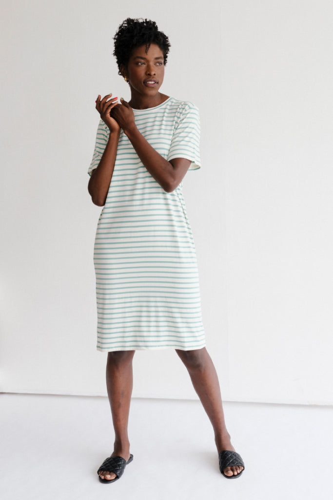 Sonnet James - Hazel-T-Shirt - Dress,Mint Stripe
