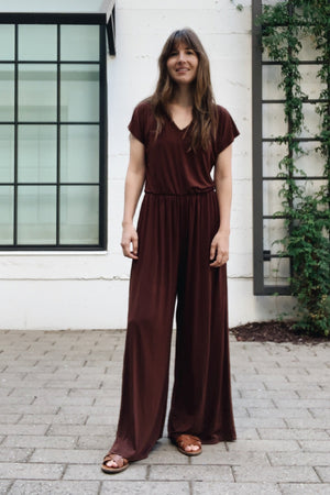 Sonnet James - Jumper-One-Piece Gathered Waist + Wide Leg - Jumpsuit,Brown