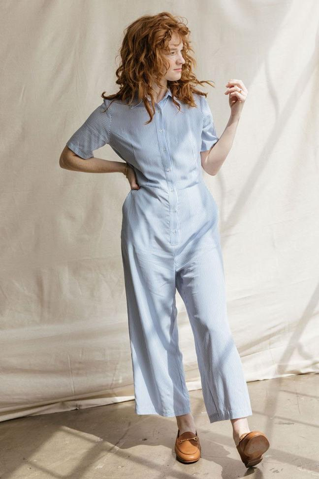 Sonnet James - JUMPSUIT - BLUE PINSTRIPE - Jumpsuit,Blue + White Pinstripe