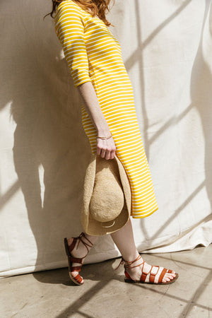 Sonnet James - JUNE - YELLOW STRIPE - Dress,Yellow/White