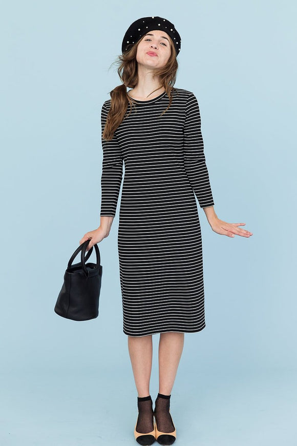 Sonnet James - TALL REESE - BLACK/WHITE STRIPE - Dress