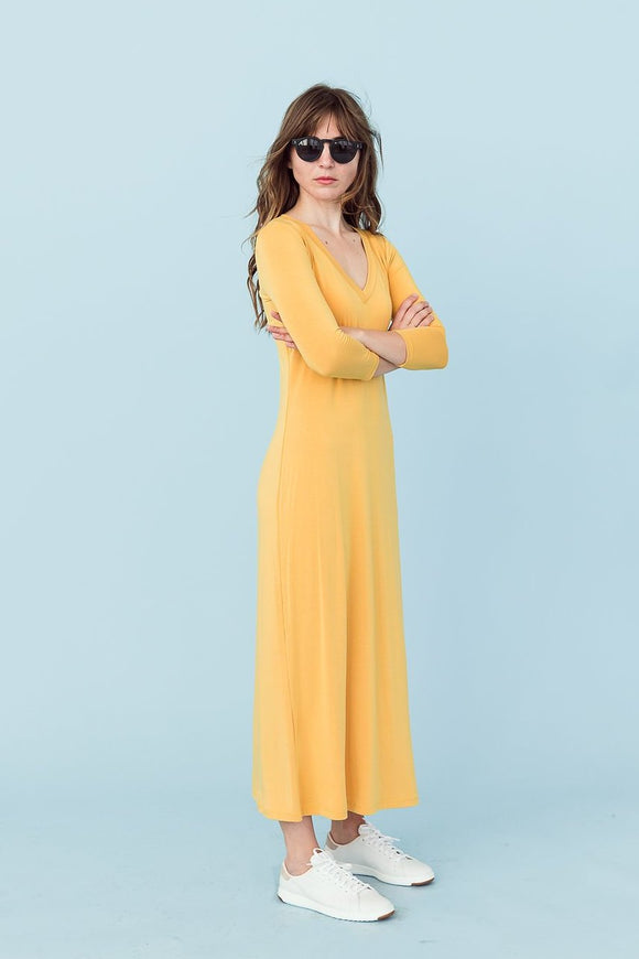 Sonnet James - MARNI - HONEY GOLD V-NECK - Dress