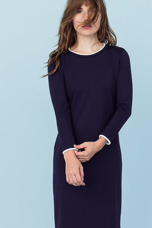 Sonnet James - MAY - NAVY W/ WHITE (LONG SLEEVE) - Dress,Navy