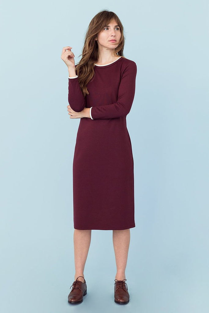 Sonnet James - MAY - MAROON W/ CREAM (LONG SLEEVE) - Dress