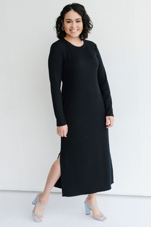 Sonnet James - Alexa - Ribbed Long-Sleeve Maxi Dress - Dress,black-rib