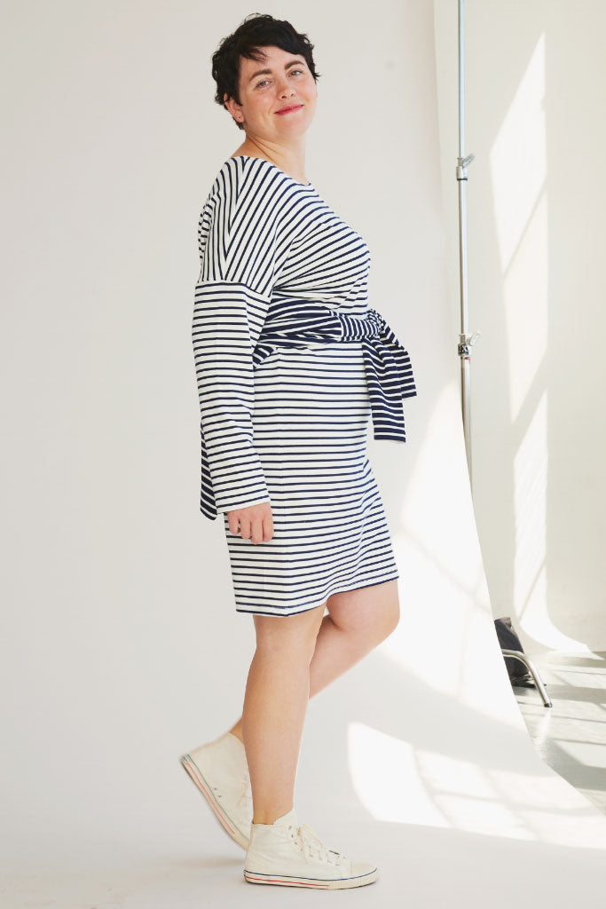 Sonnet James - AVA - CREAM/NAVY STRIPE - Dress