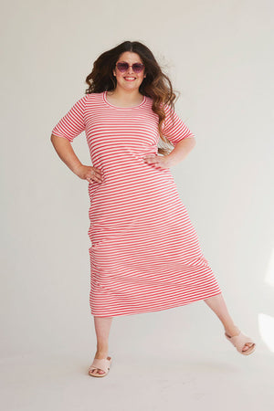 Sonnet James - DAISY - PINK/RED STRIPE - Dress,PINK/RED STRIPE