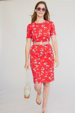 Sonnet James - MAY - RED FLORAL - Dress,Red Floral