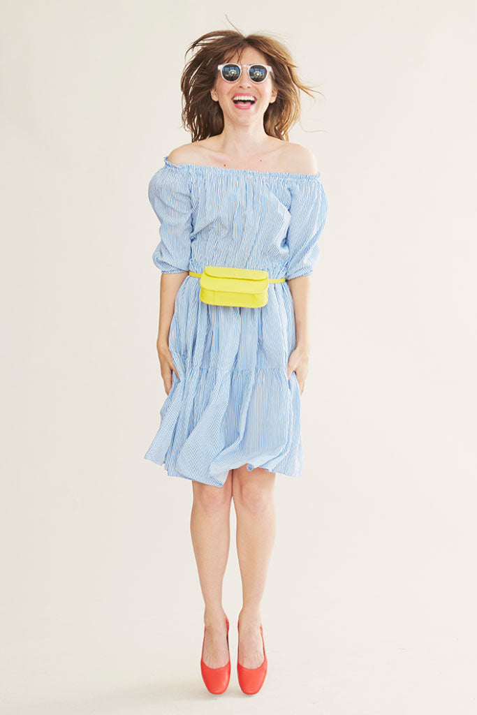 Sonnet James - ISLA - BLUE PINSTRIPE - Dress  ,Blue White Pinstripe