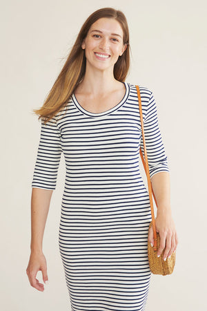 Sonnet James - JUNE - CREAM/NAVY STRIPE - Dress  ,Cream/Navy