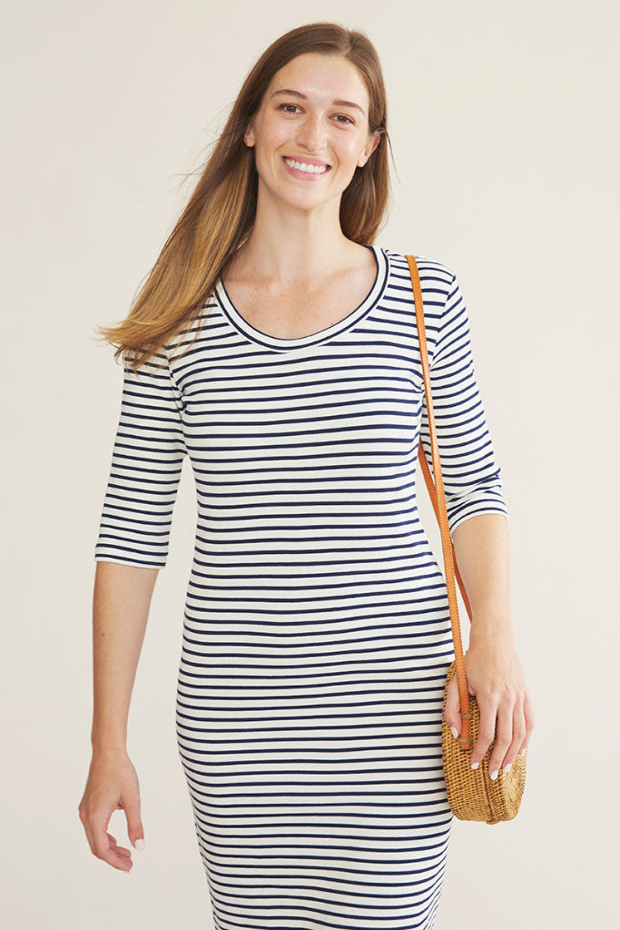 Sonnet James - JUNE - CREAM/NAVY STRIPE - Dress,Cream/Navy