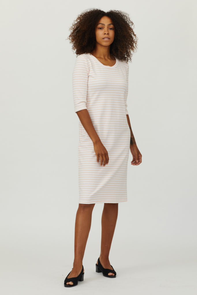 Sonnet James - JUNE - WHITE/PEACH STRIPE - Dress,White/Peach Stripe