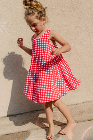 Sonnet James - LULU LITTLE - RED GINGHAM - Dress,Red Gingham