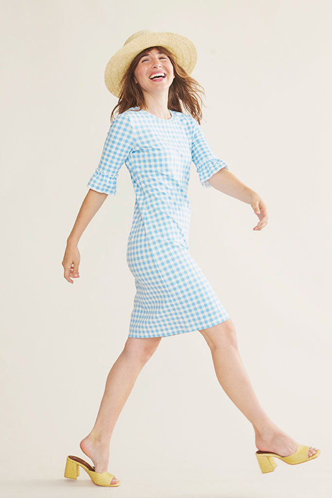 Sonnet James - LOTTIE - LIGHT BLUE GINGHAM - Dress  ,Blue Gingham