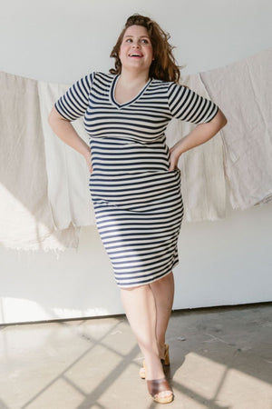 Sonnet James - NORI - NATURAL/NAVY - Dress,Natural Navy