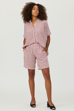 Playsuit Shorts - Red/White Seersucker