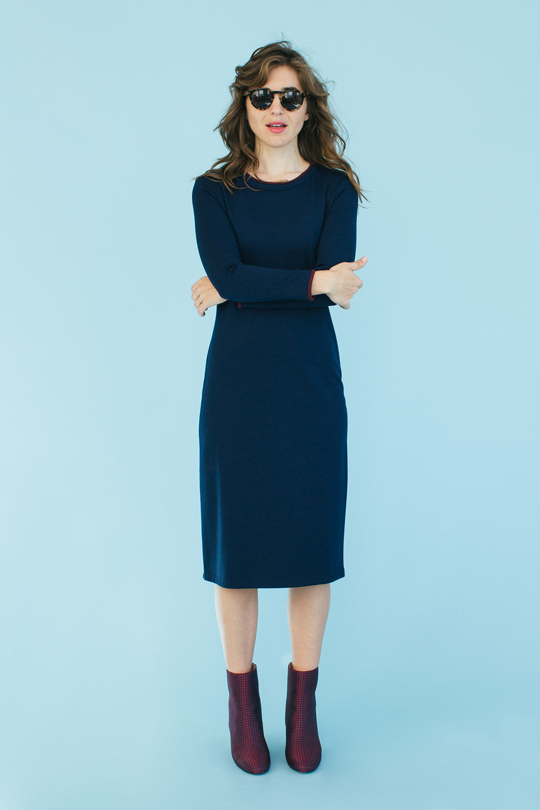 Sonnet James - MAY - NAVY W/ MAROON (LONG SLEEVE) - Dress