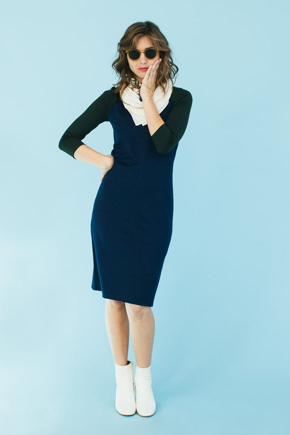Sonnet James - REMI - NAVY/HUNTER PONTI - Dress