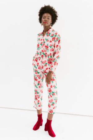 Sonnet James - Playsuit-Two-Piece Button Up Shirt + Pants - Playsuit,Red Rose