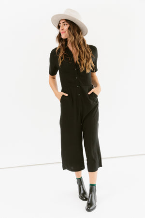 Sonnet James - Jumpsuit - Button Up Short Sleeve One Piece - Jumpsuit,Black