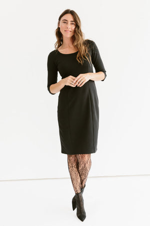Sonnet James - Juliet-Scoop Neck Knee-length Fitted Dress - Dress,Black