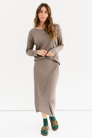 Sonnet James - Long Skirt Set - Ribbed Two-Piece Maxi Skirt - Skirt Set,mocha-rib