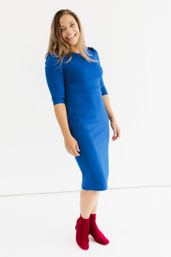 Sonnet James - Lucie-Puff Sleeve Knee-length Fitted Dress  ,Royal Blue