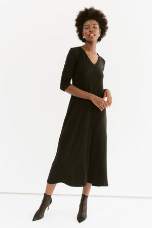 Sonnet James - Marni - V-Neck Maxi Dress - Dress,Black