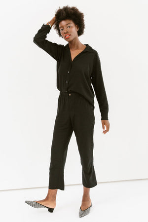 Sonnet James - Playsuit-Two-Piece Button Up Shirt + Pants - Playsuit,Black