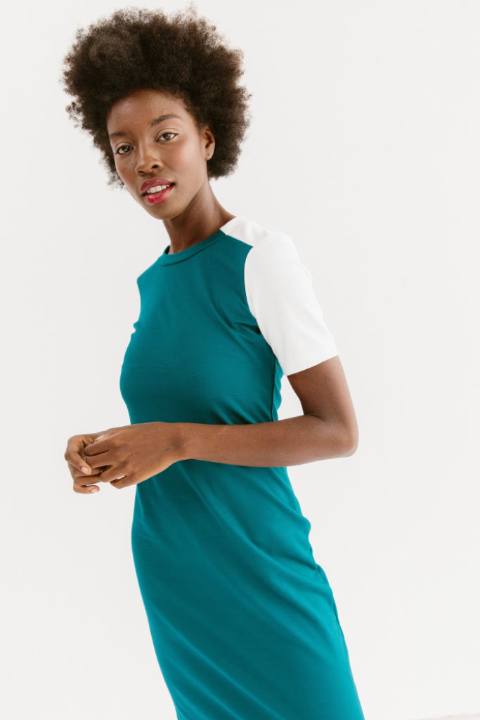Sonnet James - Quincy - Short Sleeve Fitted Color-Block Dress - Dress