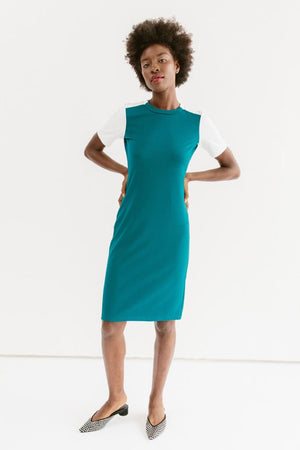 Sonnet James - Quincy - Short Sleeve Fitted Color-Block Dress - Dress  ,Teal
