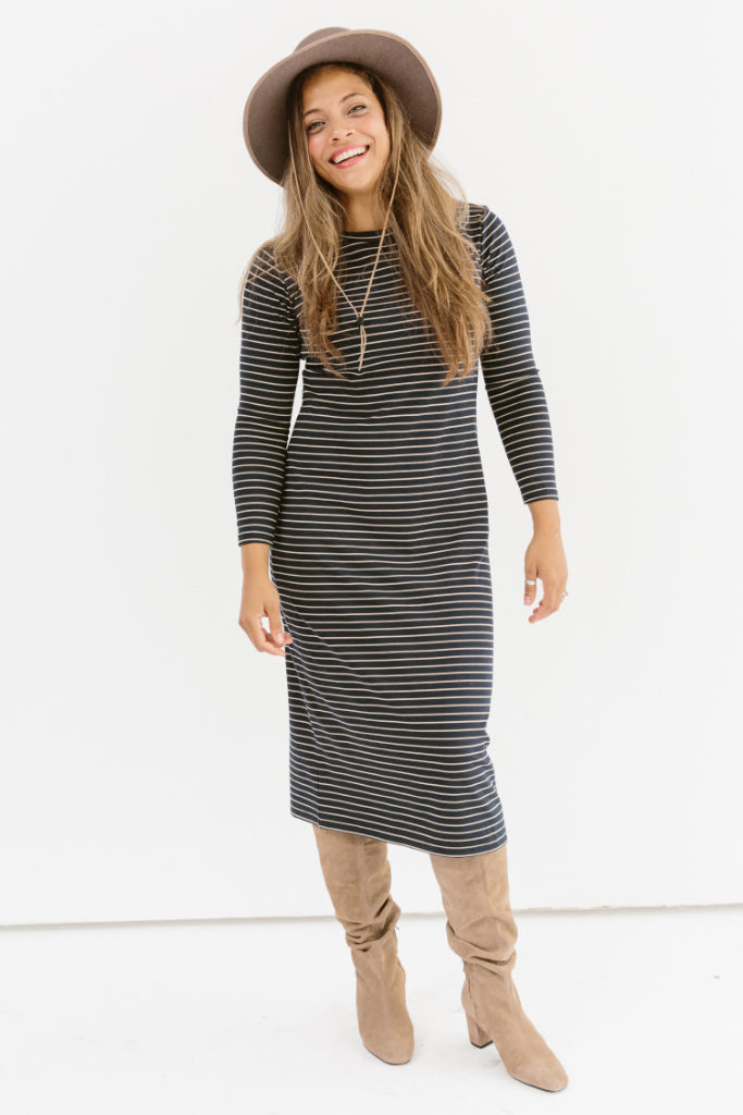 Sonnet James - REESE - NAVY/CAMEL STRIPE - Dress