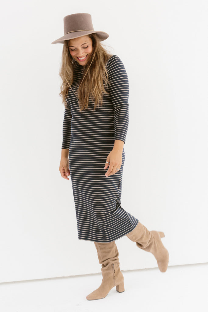 Sonnet James - REESE - NAVY/CAMEL STRIPE - Dress,Navy/Camel