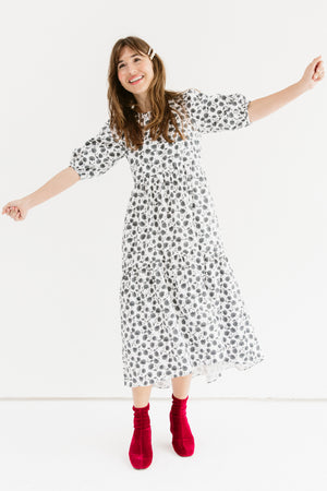 Sonnet James - Simone - Puff Sleeve Poplin Dress - Dress,Grey/Floral