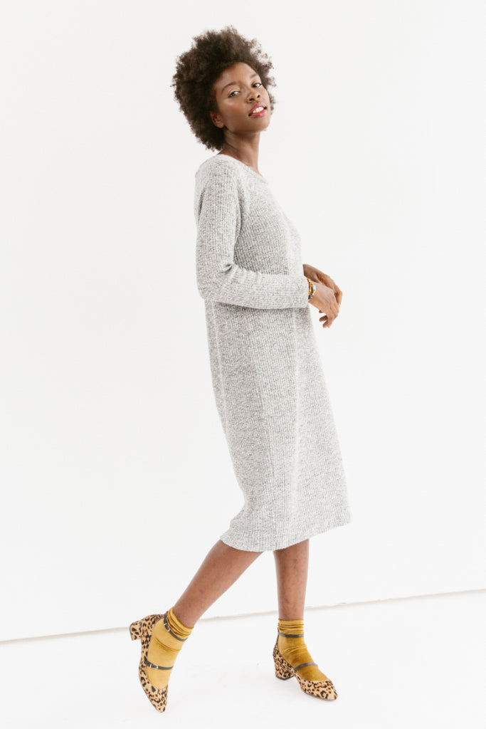 Sonnet James - Sweater Dress - Long Sleeve Knit Sweater Dress - Dress,Sweater/Grey