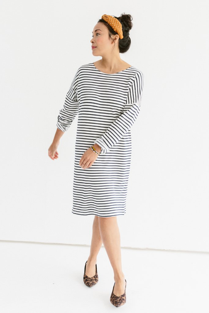 Sonnet James - AVA - CREAM/NAVY STRIPE - Dress,Cream/Navy