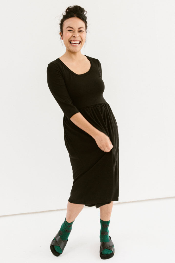 Sonnet James Bella Dress - Jersey Knee Length A Line Dress ,Black