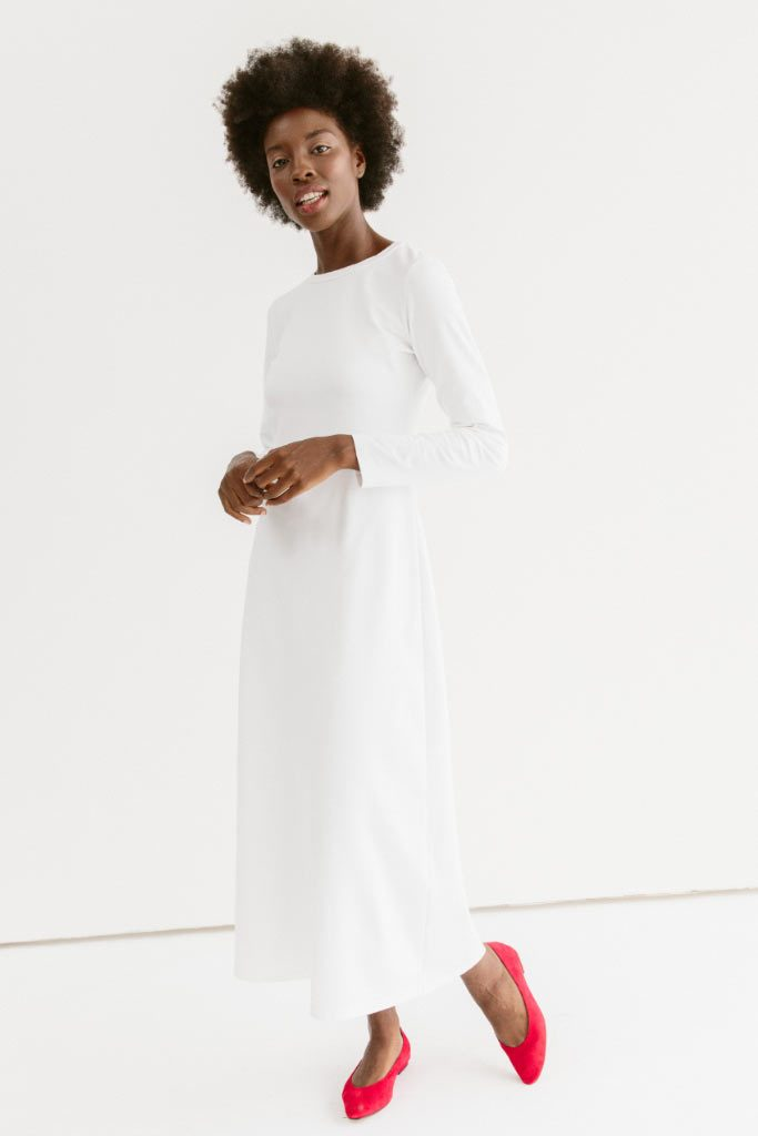 Sonnet James - Eve-Long Sleeve Crew-Neck Maxi Dress - Dress,White