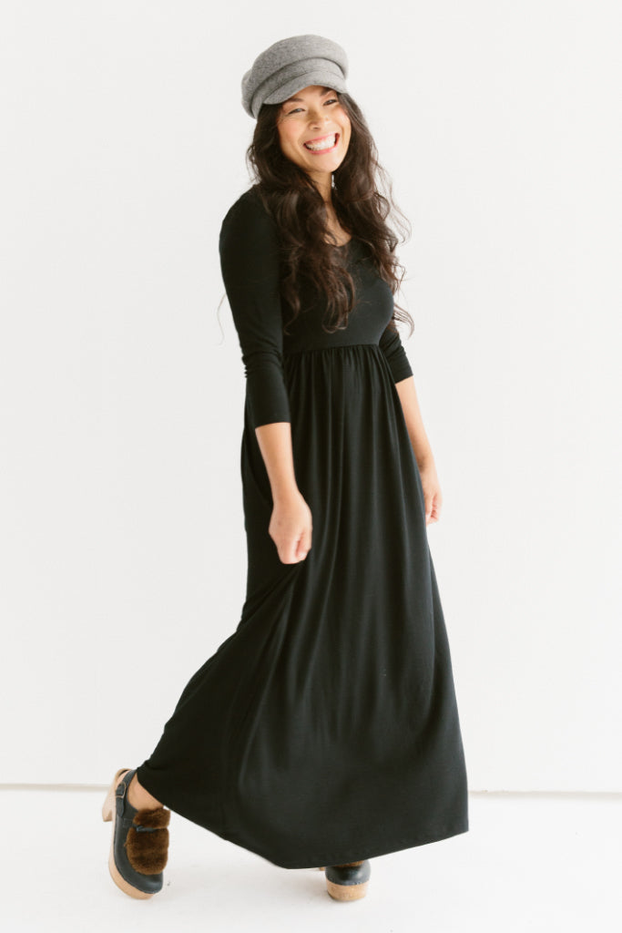 Sonnet James - Jane-Empire Waist Maxi Dress - Dress,Black