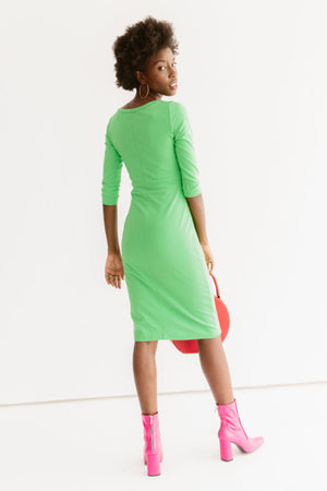 Sonnet James - Juliet-Scoop Neck, Knee-length, Fitted Dress - Dress,Bright Green
