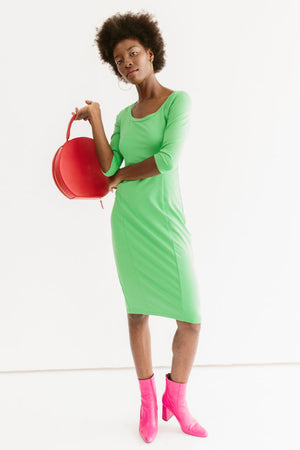 Sonnet James - Juliet-Scoop Neck Knee-length Fitted Dress - Dress,Bright Green