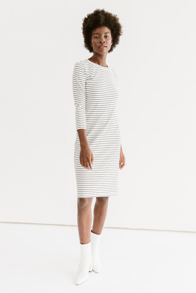 Sonnet James - REESE - WHITE STRIPE - Dress,White/Black
