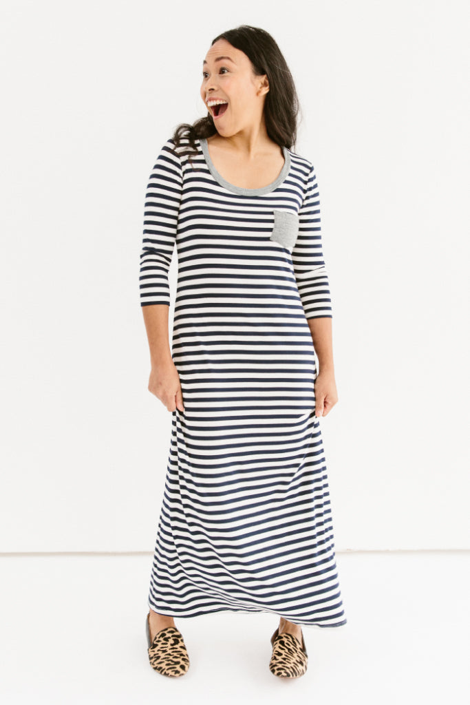 Sonnet James - Teddy - Casual Maxi Dress With Accent Pocket - Dress,Natural/Navy